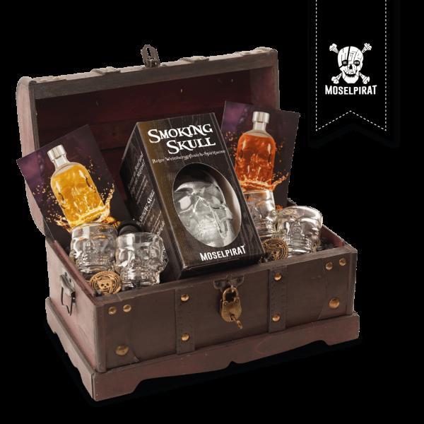 Piraten-Truhe mit: Smoking Skull
